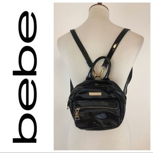 Bebe Small Black Round Backpack